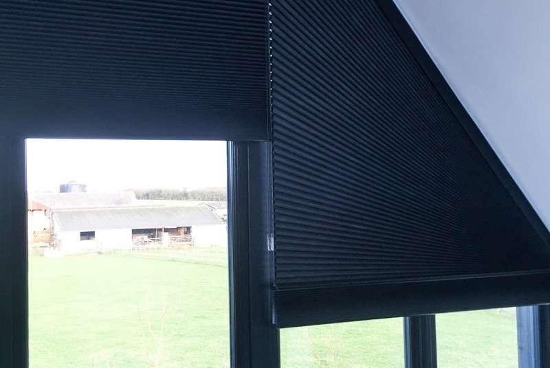 black triangular blinds